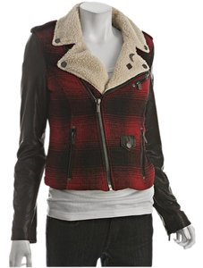 William Rast Leather Sherpa Plaid Motorcycle Jacket