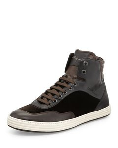 Salvatore Ferragamo Leather High Tops Velvet Brown Athletic