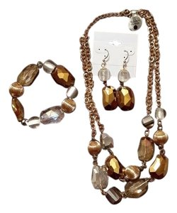 Macy's Jewelry Set, Earrings, Stretch Bracelet and Two Strand Necklace