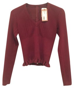 ALAÏA Red Burgundy Alaia V-neck Sweater