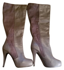 ShoeDazzle Faux Leather Suede Gray Boots