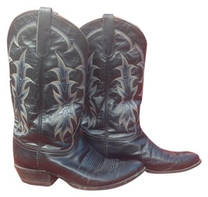 Tony Lama Western Cowboy Leather Contrast Stitching Black Boots
