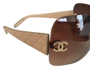 Chanel Chanel Gold Quilted Leather CC Rimless Shield Sunglasses
