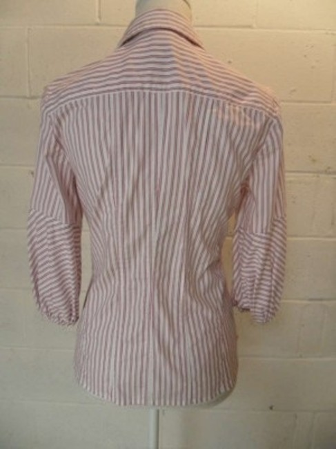 Nine West Top White with pink/burgundy stripe