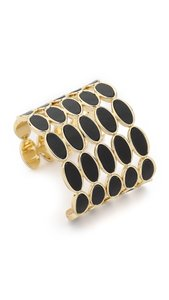 House of Harlow 1960 Del Sol Leather Cuff Bracelet - Black/gold