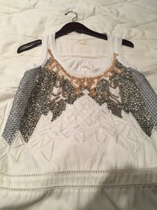 Anthropologie Top Cream with silver and goldish sequins