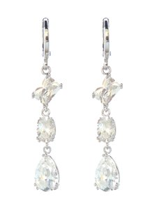 Other Silver Rhodium Three Clear CZ Stone Drop Dangle Earrings