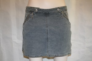 Stella McCartney Denim Mini Zippers Silver Grey Mini Skirt GREY BLUE