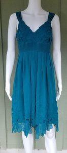 Antonio Melani short dress Teal Embroidered Chiffon Floral on Tradesy