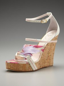 Emilio Pucci Strappy Silk Cork Ankle Strap Wedges