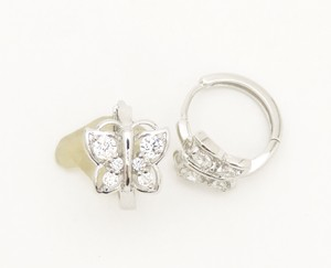 Other Pave CZ Butterfly Huggie Hoop Earrings Rhodium Silver