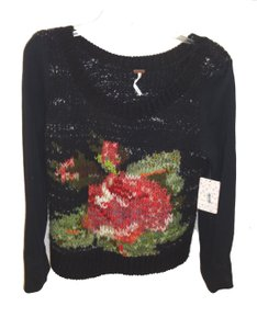 Free People Rose Design Acrylic Knit Sweater