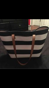 Michael Kors Saffiano Tote in Navy and White Stripes