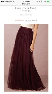 BHLDN Cabernet Tulle with Polyester Lining Louise Skirt Formal Bridesmaid/Mob Dress Size 4 (S)