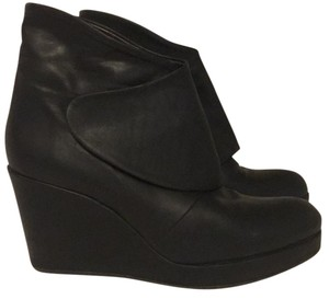 Coclico Wedge Leather Velcro Black Boots