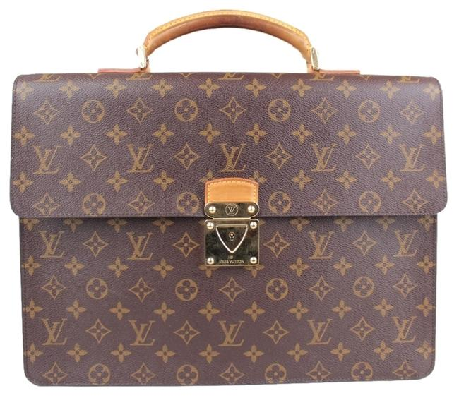 Item - Robusto 1 Monogram Briefcase Brown and Brown/Tan/Cream Leopard Print Canvas Treated Leather Laptop Bag
