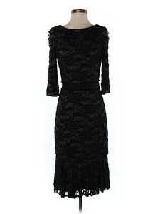 David Meister Lace Shift Sheath Boatneck Longsleeve Dress