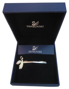Swarovski New Swarovski White Enamel Angel Crystal Barrette Hair Clip in Box