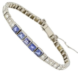 ,14k,White,Gold,Diamonds,Blue,Stones,Bracelet