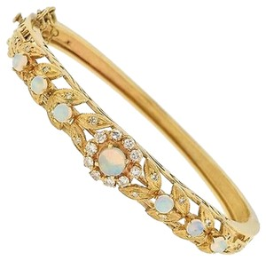 ,14,K,Yellow,Gold,Opal,Diamonds,Bracelet