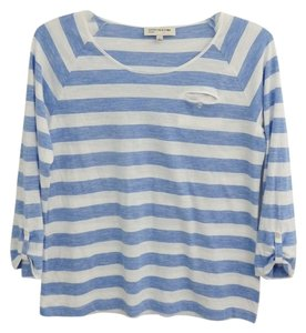 Jones New York Raglan Long Sleeves Size L Striped Shirt Neck Top blue and white