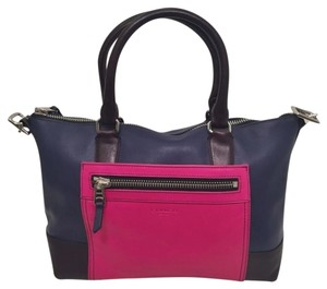 Coach Color-blocking Leather Satchel in Navy/Fuchsia