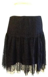 Ralph Lauren Dry Clean Made In China 100% Nylon Polyurethane Silk Lining Mini Skirt Black