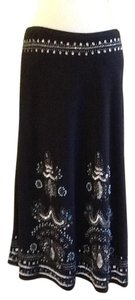 Basil & Maude Dry Clean In Indonesia 42% Rayon 55% Linen 3% Spandex Maxi Skirt Black with blue white silver stone