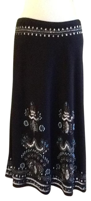 Item - Black with Blue White Silver Stone Southern Santa Fe Skirt Size 6 (S, 28)