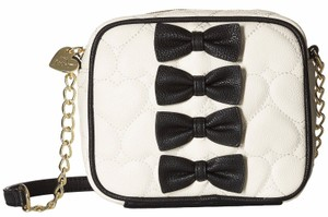 Betsey Johnson Black Cream Heart Quilted Petit Chic Bow Front Crossbody Tote in Multi-Color
