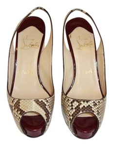 Christian Louboutin Slingback Platform Evening Snake Skin & Burgundy Pumps
