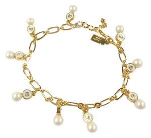 Kate Spade Kate Spade O0RU1446 Pearly Delight Charm Crystal Gold Chain Bracelet