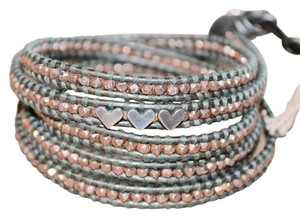 Chan Luu ROSE GOLD BEAD STERLING SILVER HEART CHARM LEATHER WRAP BRACELET