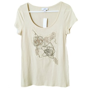 Ann Taylor LOFT Embroidered Floral Short Sleeve Tee T Shirt Beige