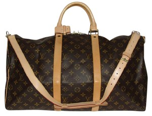 Louis Vuitton Duffle Bandouliere Keepall Cross Body Strap Luggage Monogram Travel Bag