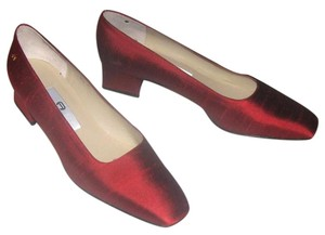 Etienne Aigner Fabric Silk Red Pumps