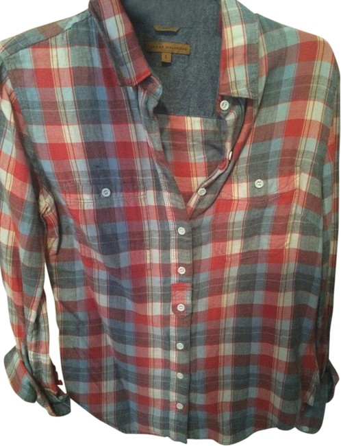 Gabi Flannel Plaid Button Down Shirt Red, creme, blue