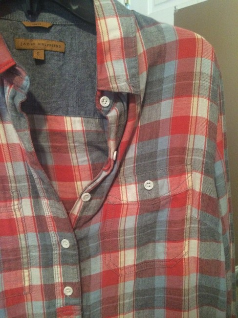 Gabi Flannel Plaid Button Down Shirt Red, creme, blue Image 2