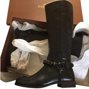Coach Edgy Riding Winter Leather Black Boots