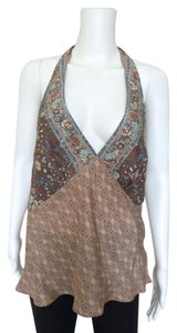 Laundry by Shelli Segal Halter Bohemian Silk Top Brown