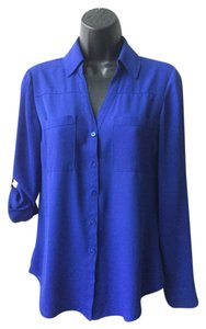Express Roll Tab Work Button Down Shirt Royal Blue