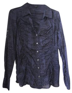 Express Ruched Pattern Button Up Button Down Shirt Black and Blue
