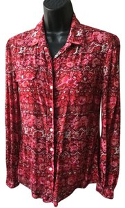 Lucky Brand Multi-colored Bright Button Down Shirt Pink, Burgundy, White