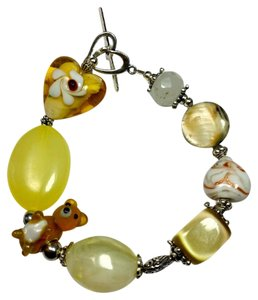 New Lampwork Glass Bracelet Handmade Yellow Silver j3012