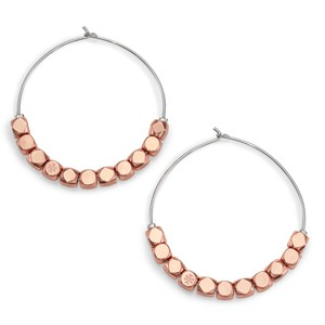 Tory Burch Geo-Cube Hoop Earring, Rose Gold