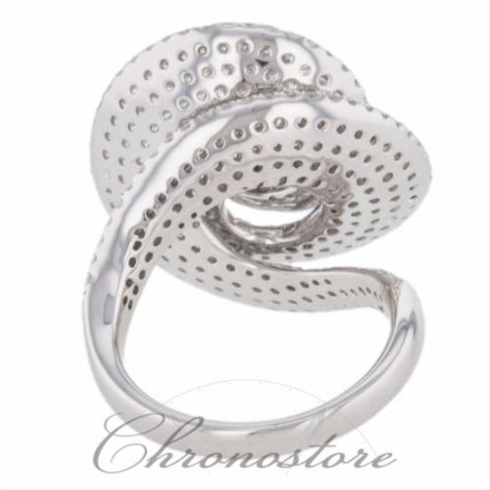 """Handmade"" 18k,750,White,Gold,3.164ct,Diamond,Spiral,Design,Cocktail,Ring"