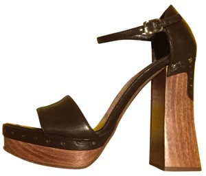 Prada Chunky Woodenheel Wood Heel Brown Platforms