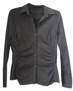 Express Pinstripe Ruched Professional Button Down Shirt Black