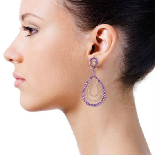 """Handmade"" 18k,Rose,Gold,Violet,Amethyst,Diamond,Concentric,Teardrop,Dangle,Earring"