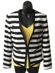 Nine West Stripe V-neck Bold Black and Winter White Blazer